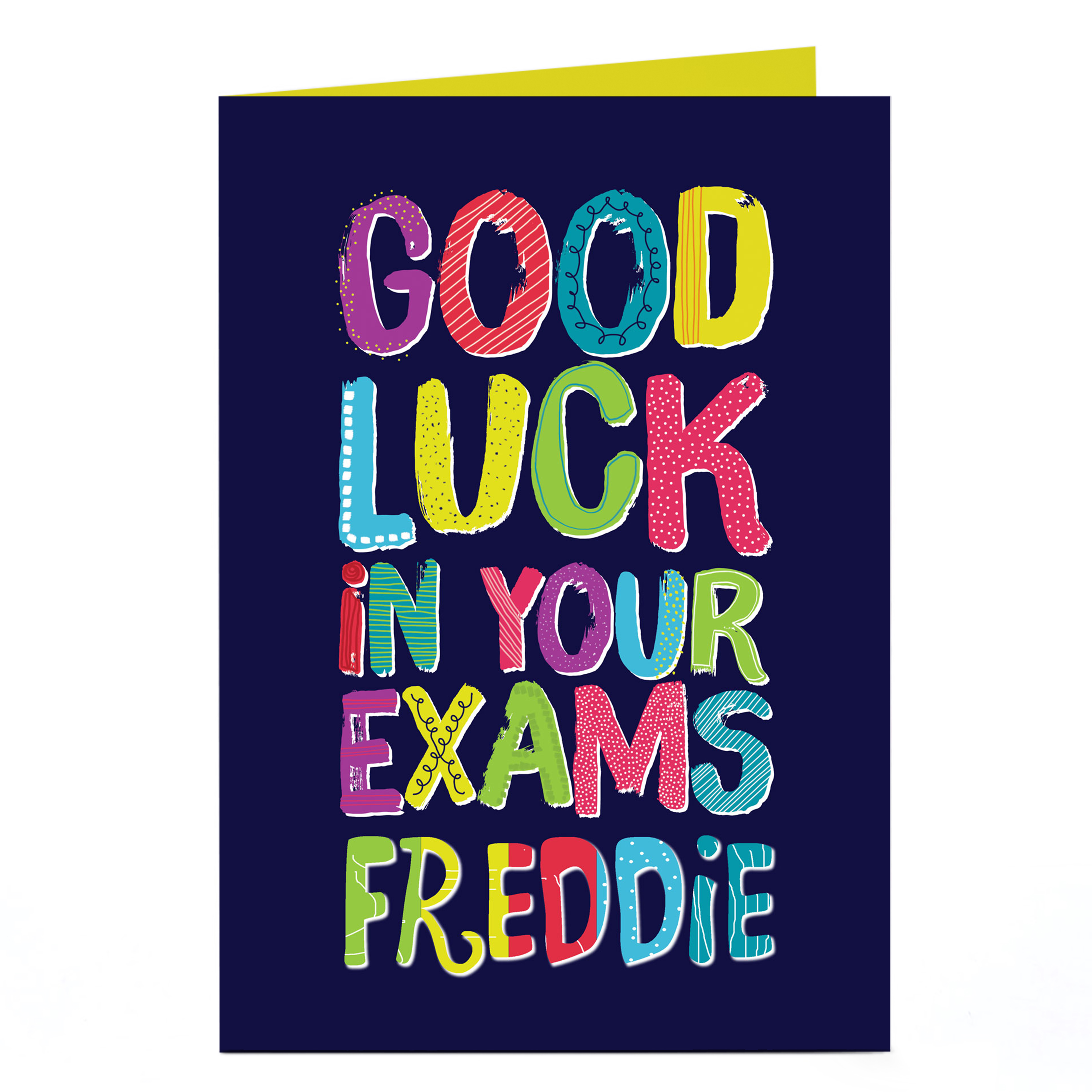 Personalised Good Luck Card - Exams, Multicoloured