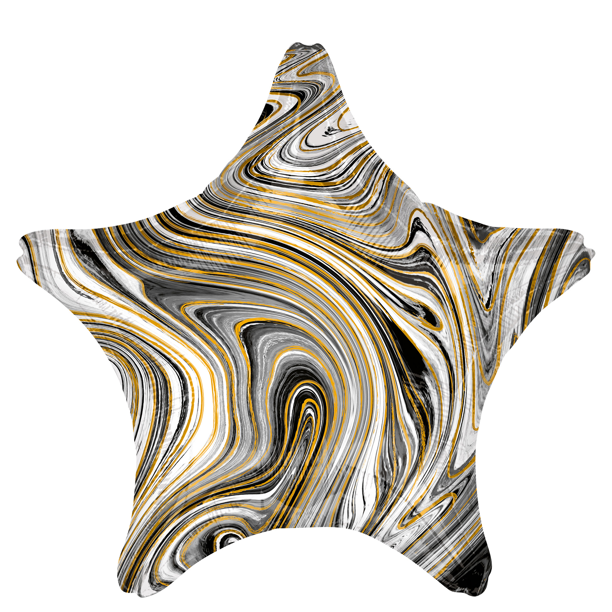 Black Star Marble-Effect 19-Inch Foil Helium Balloon