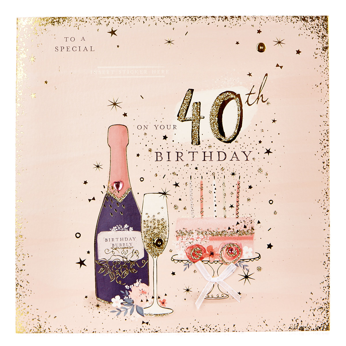 Exquisite Collection 40th Birthday Card - Any Female Recipient (Stickers Included)