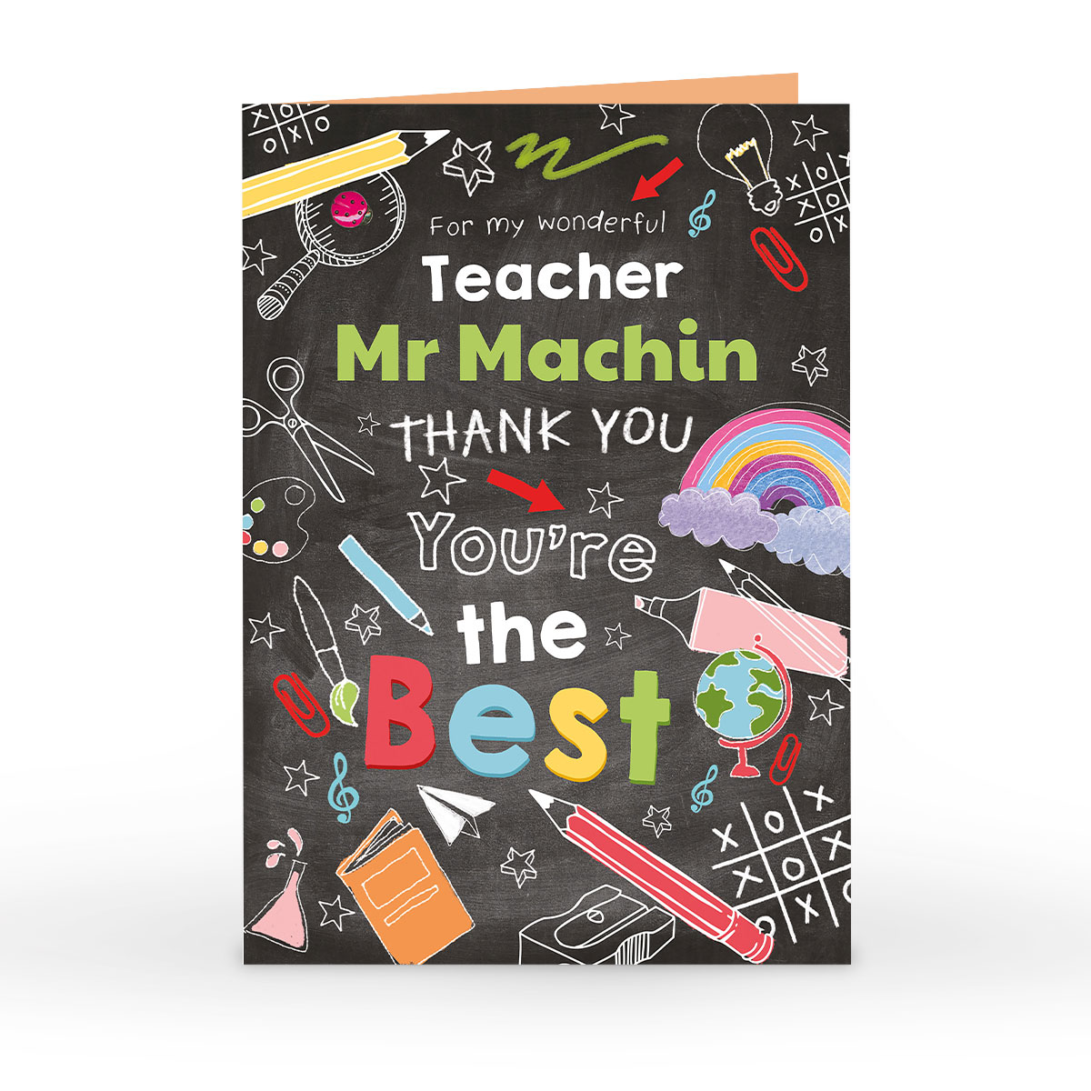 Personalised Thank You Teacher Card - Chalkboard, You're The Best
