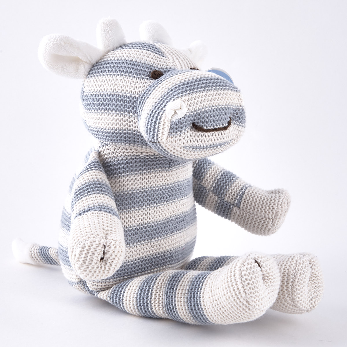 Tiny Treasures Striped Blue & White Cow Plush