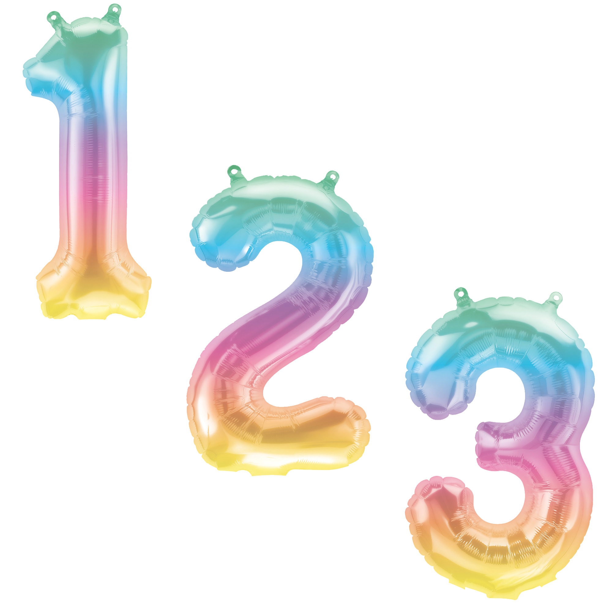 Jeli Ombre Air-Inflated NumberBalloons 0-9 - DEFLATED
