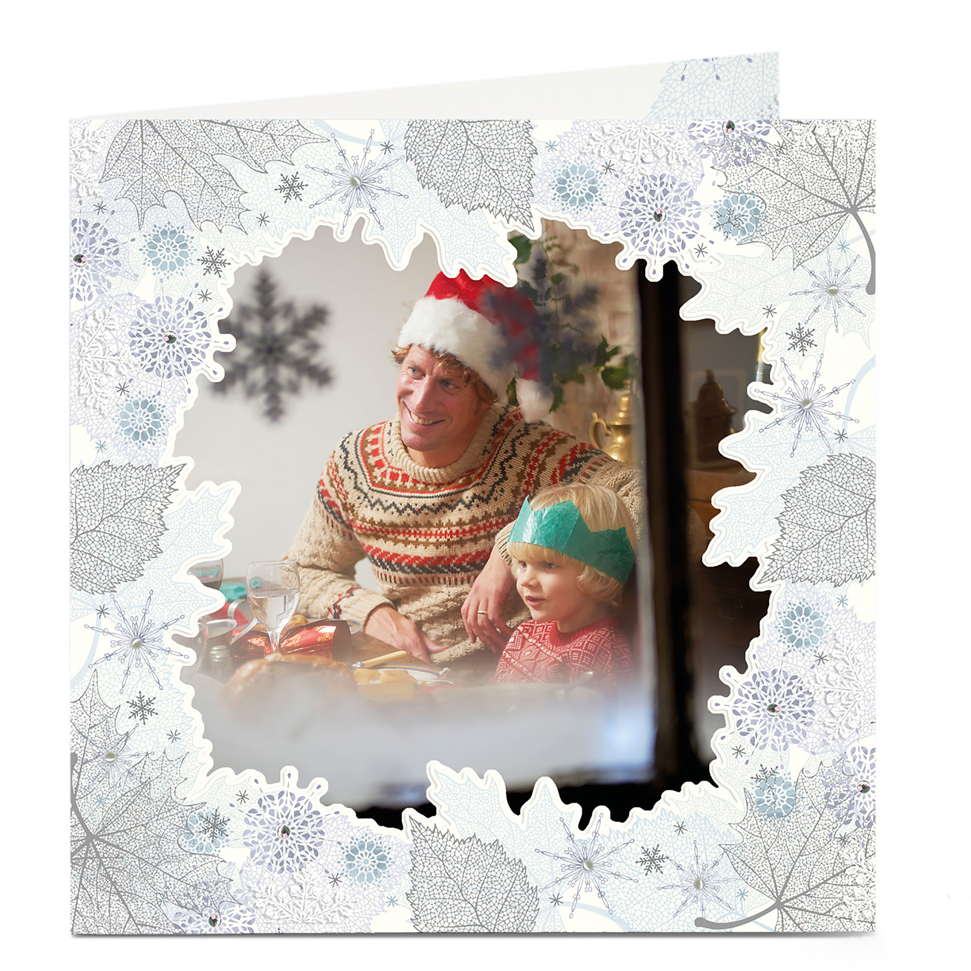 Photo Christmas Card - Leaves And Snowflakes