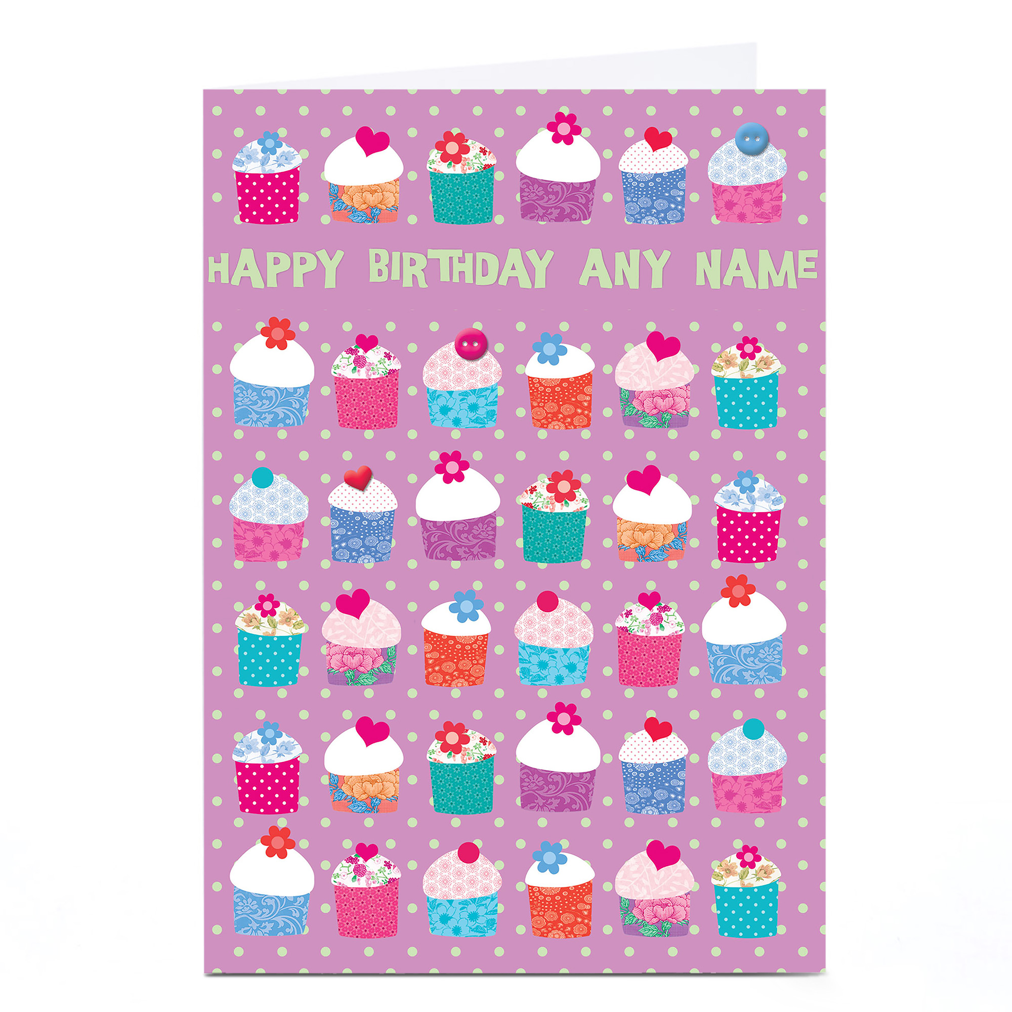 Personalised Birthday Card - Polka Dot Cupcakes