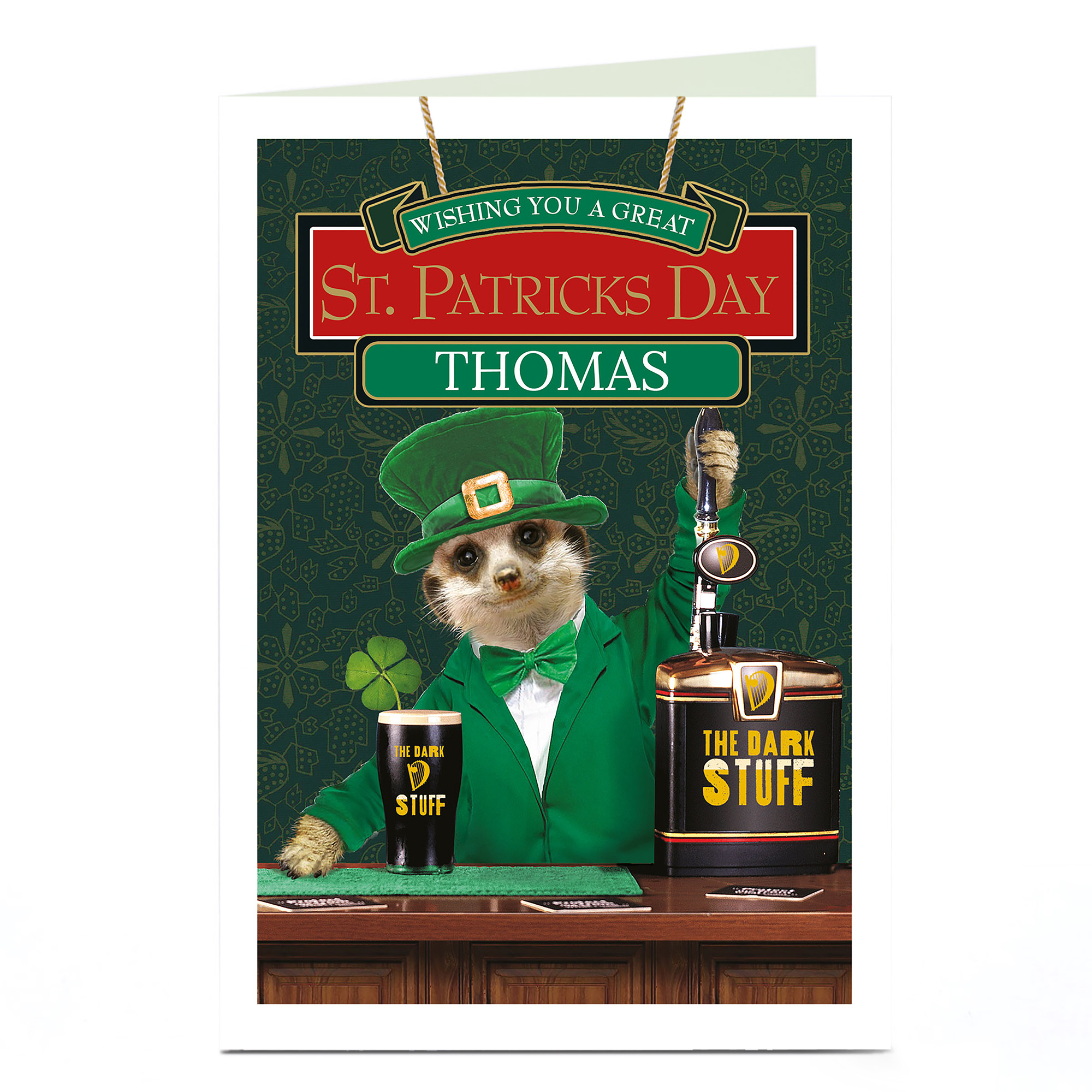 Personalised St Patrick's Day Card - Meerkat Bartender