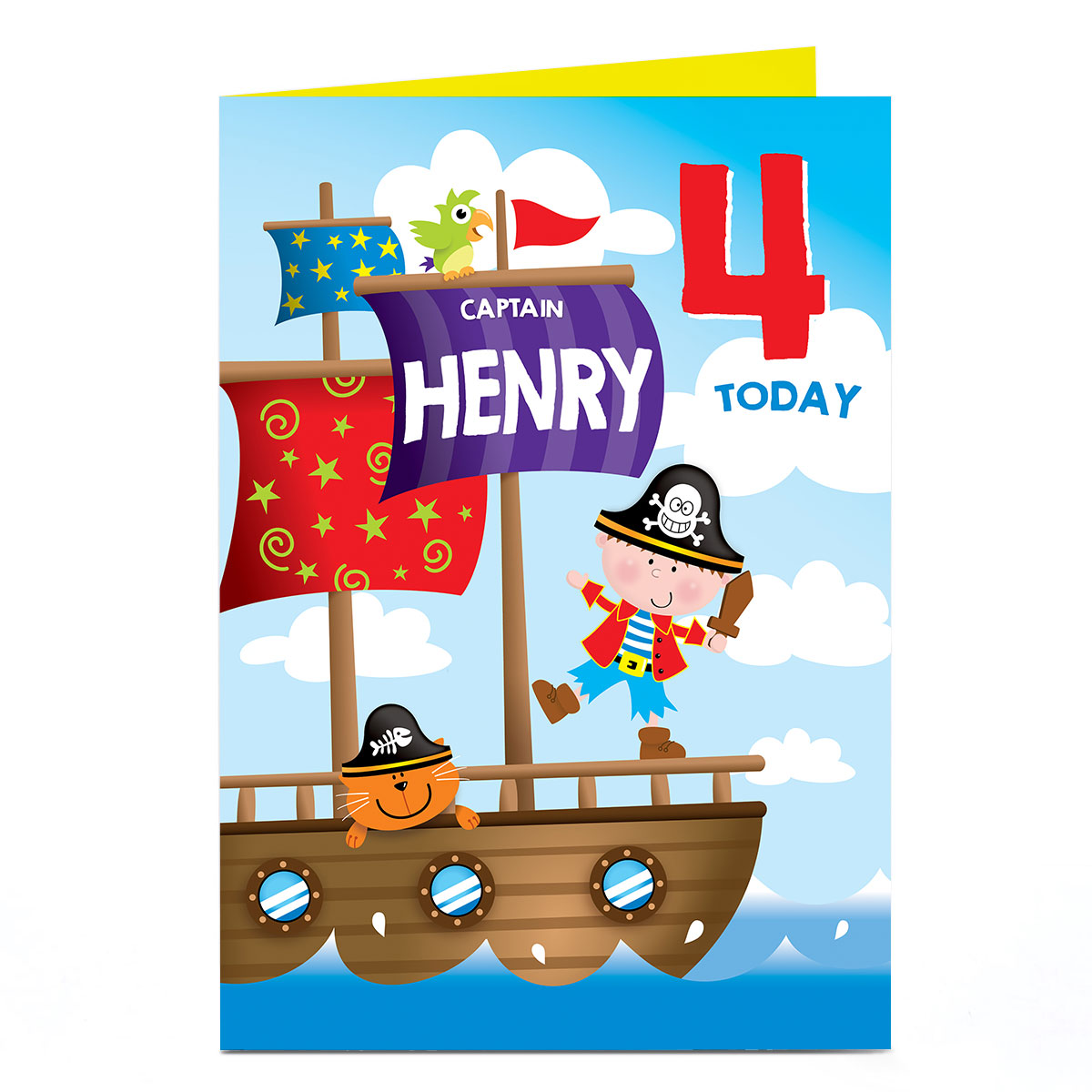 Personalised Birthday Card - Pirate Captain, Any Name & Age