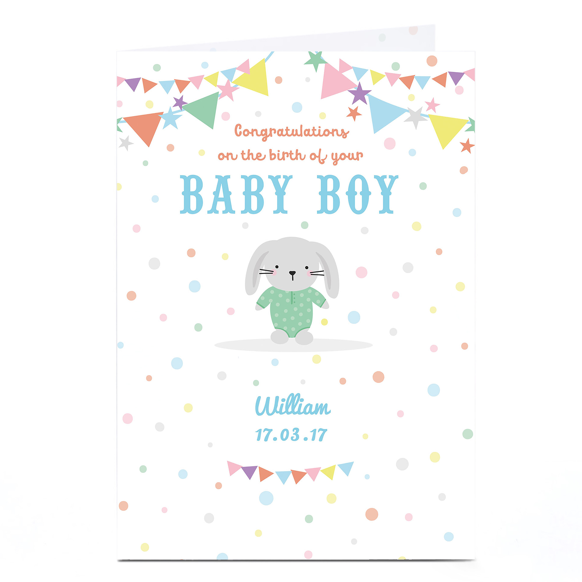 Personalised New Baby Card - Blue Boy Rabbit