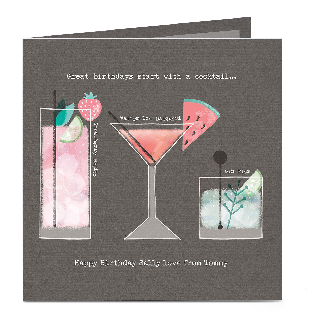 Personalised Birthday Card - Start With A Cocktail