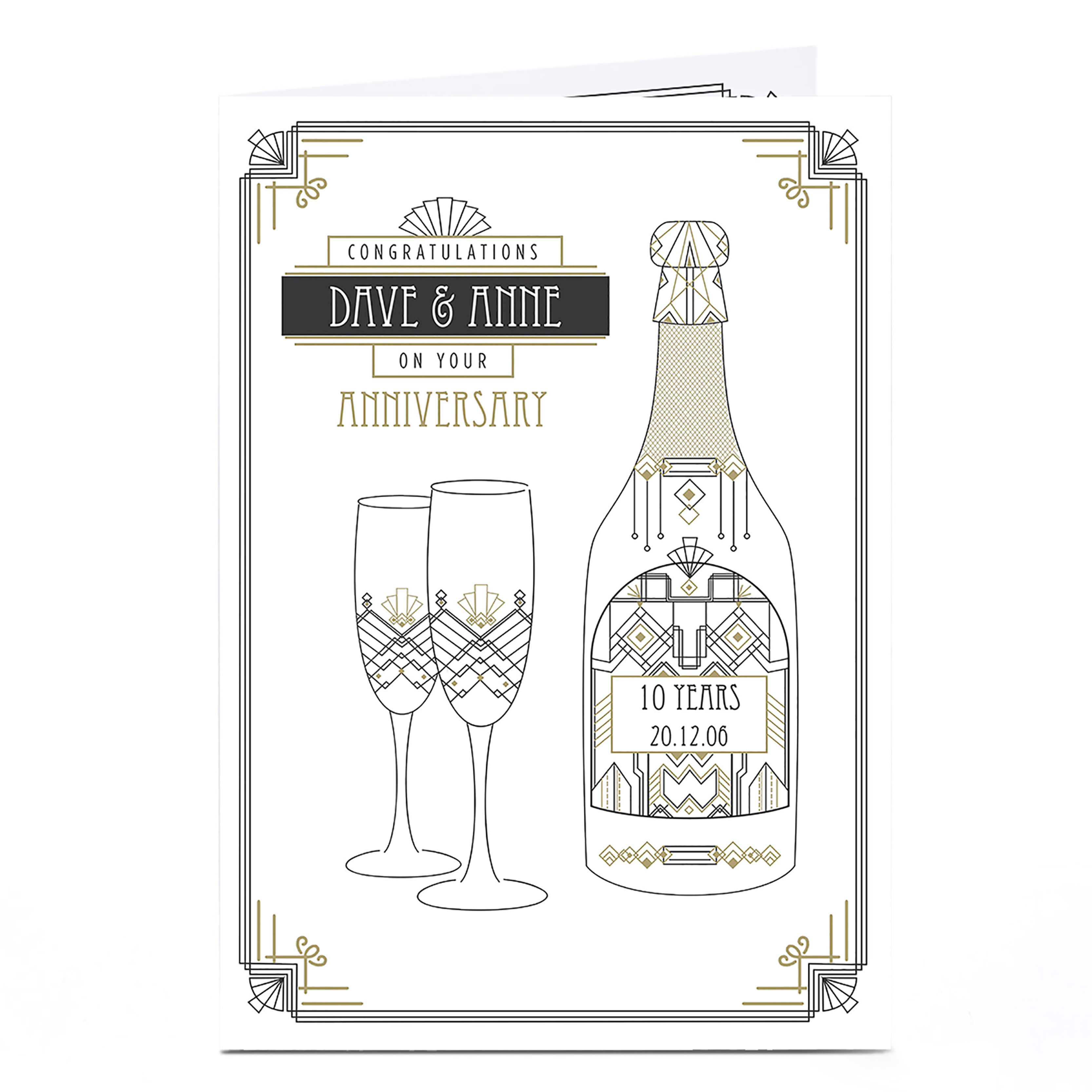 Personalised Anniversary Card - Art Deco Champagne