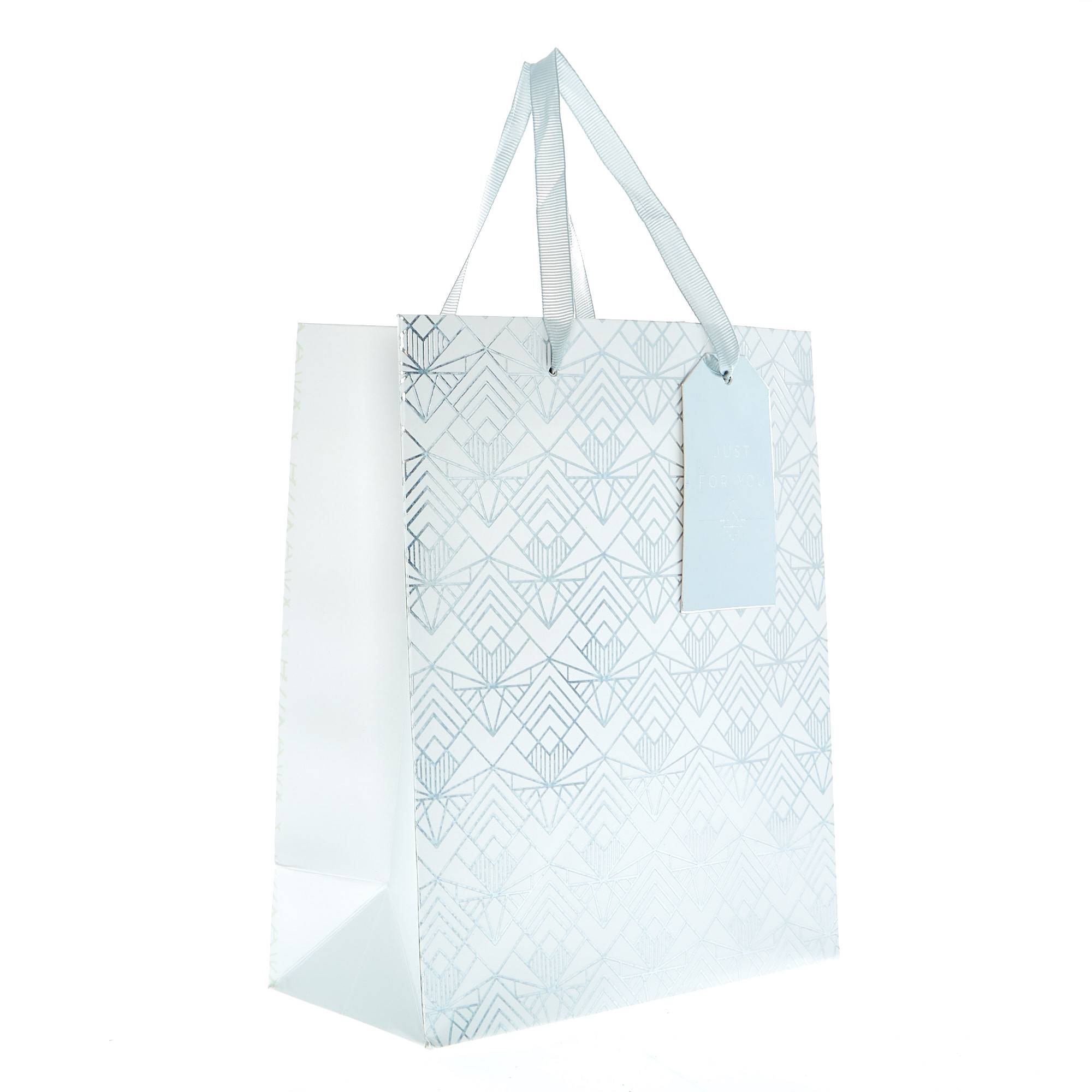 Small Portrait Gift Bag - White & Silver Damask